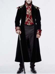 Gothic Red Jacquard Gold Faded Buttons Black Fleece Men Long Coat
