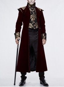 Gothic Black Jacquard Gold Faded Buttons Wine Red Fleece Men Long Coat