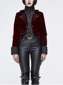 Gothic Black Jacquard Lapel Embroidered Metal Nail Women Wine Red Velveteen Swallowtail Coat