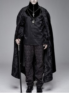 Removable Chain Pendant Short Front And Long Back Gothic Pattern  Black Cloak