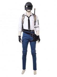 Playerunknown's Battlegrounds Men Role White Shirt Suit Halloween Cosplay Costume Full Set