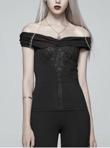 Chest Positioning Flower Pattern Off-Shoulder Black Gothic Knit Short T-Shirt