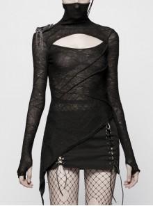Black Knit Dark Pattern High Collar Chest Hollow-Out Long Sleeve Asymmetrical Hem Punk Tight T-Shirt