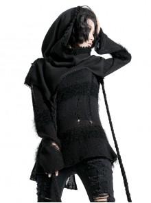 Lace Weave Strap Button Asymmetrical Rough Selvedge Hem Black Punk Hooded Short Cloak