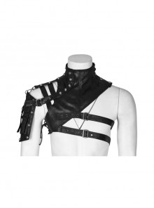 Metal Buckle Hasp Rivet One-Shoulder Stand-Up Collar Black Punk Leather Armor Accessory