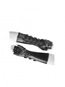 Metal Buckle Hasp Rivet Splice Mesh Black Punk Leather Gloves