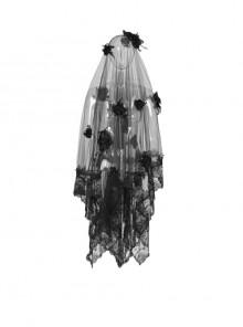 Diaphanous Flowing Mesh Lacey Lace 3D Flower Decoration Black Gothic Veil