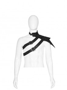 Metal Buckle Hasp Lace-Up One-Shoulder Stand-Up Collar Black Punk Leather Armor Accessory