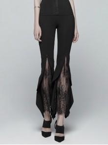 Black Knit Splice Lace Gothic Flared Leggings