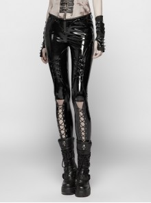 Matt Coated Knitted Calf Hollow-Out Lace-Up Black Punk Tight Trousers