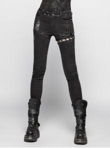 Asymmetrical Left Splicing Lace-Up Design Right Metal Zipper Rivet Black Punk Denim Trousers