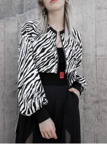 Black And White Zebra Pattern Metal Zipper Chain Short Jacket