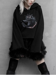 Cat Pattern Print 3D Cat Ears Cross Pendant Imitation Fox Hair Cuff Black Punk Velvet Short Hoodie