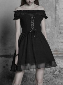 Gothic Female Lolita Black Lace Binding Strapless Dress