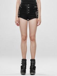 Black Metal Square Loop Hasp Button Side Hollow-Out Splice Mesh Punk Denim Shorts