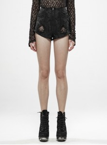 Jacquard Splice Hollow-Out Mesh Back Waist Lace-Up Black Gothic Shorts