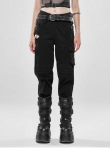 Metal Square Loop Hasp Side Hollow-Out Knees Layered Folding Hem Zipper Black Punk Denim Trousers
