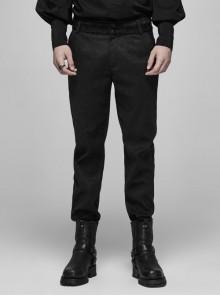 Dark Jacquard Waist Lace Decoration Button Black Gothic Velveteen Pants