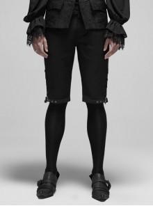 Dark Stripe Back Waist Lace-Up Bottom Metal Hasp Black Gothic Shorts