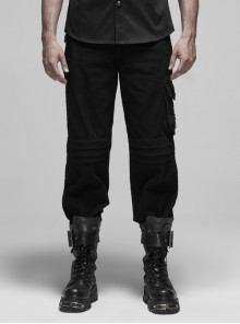 Left Sided-Buckle Pocket Right Side Fake Two Pieces Hollow-Carved Bottom Zipper Black Punk Trousers