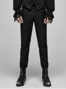 Black Waist Embroidery Patterns Back Waist Lace-Up Gothic Trousers