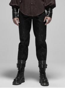 Waist Head Metal Adjusting Button Back Waist Lace-Up Black Punk Mottled Stripes Pants