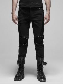 Coarse Twill Metal Rivet Hasp Knee Splice Mesh Black Punk Trousers
