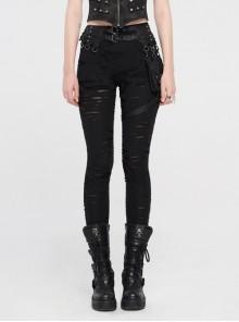 Broken Holes Splice Mesh Waist Bag Leather Hasp Back Waist Lace-Up Black Punk Leggings