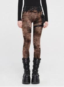 Broken Holes Splice Mesh Waist Bag Leather Hasp Back Waist Lace-Up Brown Punk Leggings