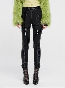 Black Knit Splice Dazzling Bright Light Imitation PU Leather Leg Hasp Punk Trousers