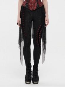 Broken Holes Backside Splice Red Mesh Lace-Up Lace Hem Black Punk Leggings