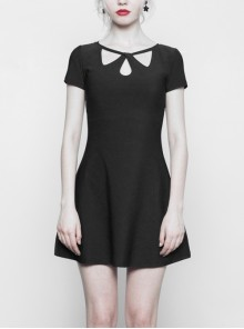 Steam Punk Female Casual Elegant Hollow Elastic High Waist Dress