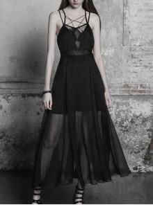 Gothic Female Black Lace Strap Stitching Chiffon Dress