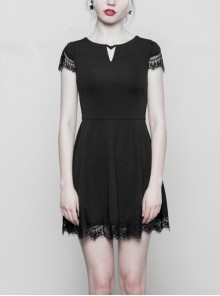 Gothic Female Black V-neck Lace Hem Hollow Stitching Dress