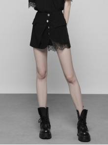Steam Punk Female Black Lace Stitching Metal Buckle Skirt