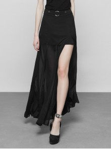 Steam Punk Female Dark High Waist Chiffon Long Skirt