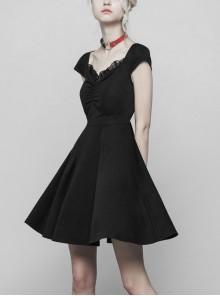 Steam Punk Female Black Hollow Lace Hem Pleated Dress