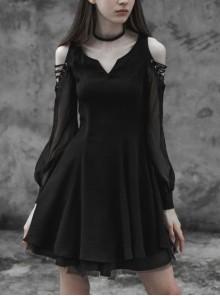 Steam Punk Female Black V-neck Lace Binding Pleated High Waist Dress