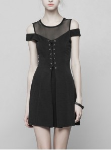 Gothic Female Black Binding Lace Stitching High Waist Dress