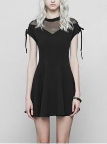 Gothic Female Casual Black Lace Stitching Chiffon High Waist Dress