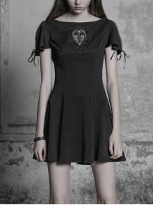 Gothic Female Black Elastic Hollow Lace Embroidered High Waist Dress