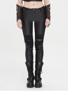 Knee Splice Mesh Rivet Decoration Bottom Zipper Black Punk Tight PU Leather Pants