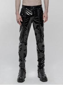 Black Stretch Patent PU Leather Splice Velvety Punk Trousers
