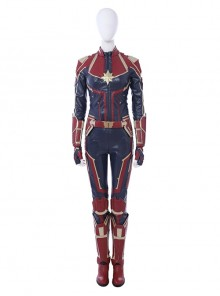 Captain Marvel Carol Danvers Red Version Battle Suit Halloween Cosplay Costume Full Set