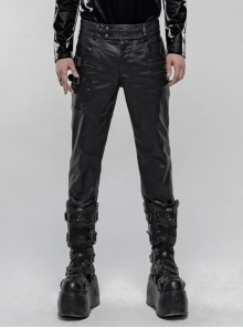 Waist Metal Buckle Side Zipper Hasp Black Punk Imitation Leather Pants