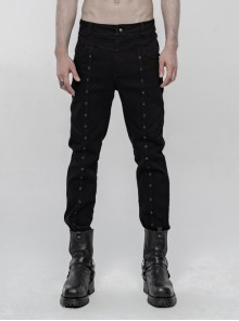 Skull Button Braided Belt Metal Rings Decoration Black Punk Twill Velvet Trousers