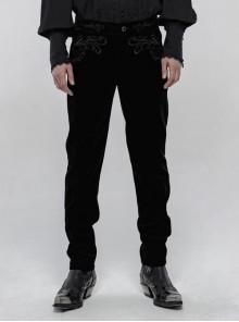 Weft Velvet Waist Embroidered Retro Button Exquisite Black Gothic Trousers