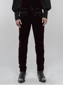 Weft Velvet Waist Embroidered Retro Button Exquisite Wine Red Gothic Trousers