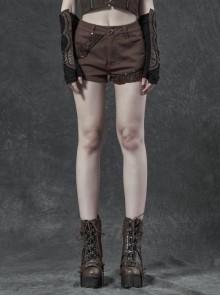 Brown Twill Weave Spliced Mesh Metal Skull Button Rivet Punk Shorts