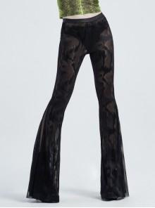 Jacquard Mesh Printed Python Texture Waistband Fringe Mesh Hem Black Gothic Flared Trousers
